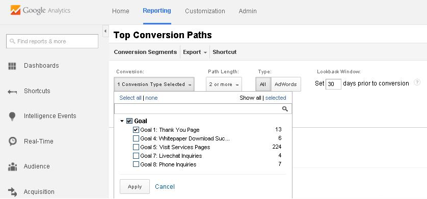 select conversion type in Top Conversion Paths report
