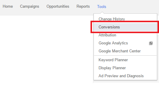 Accessing Google Adwords conversions settings