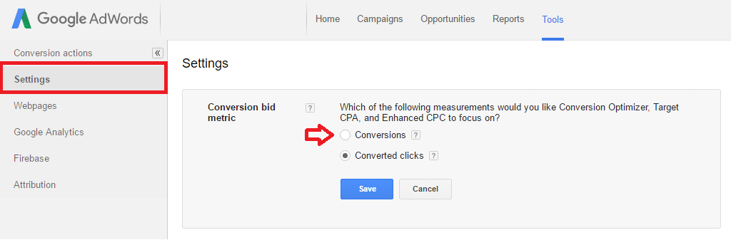 Change Adwords Conversions Settings - Converted Clicks to Conversions